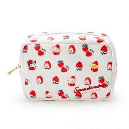 〔小禮堂〕Sanrio大集合 皮質方形拉鍊化妝包《紅白》收納包.萬用包.草莓年代系列