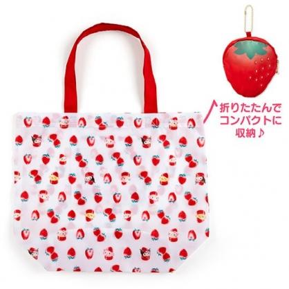 〔小禮堂〕Sanrio大集合 折疊尼龍環保購物袋《紅白》手提袋.環保袋.草莓年代系列