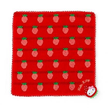 〔小禮堂〕Hello Kitty 純棉無捻紗小方巾《紅》23x23cm.手帕.草莓年代系列