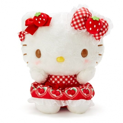 〔小禮堂〕Hello Kitty 絨毛玩偶娃娃《S.紅白》擺飾.玩具.草莓年代系列