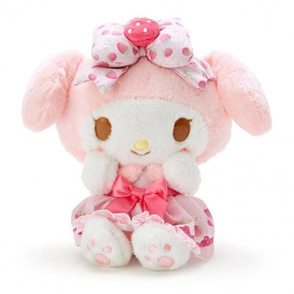 〔小禮堂〕美樂蒂 絨毛玩偶娃娃《S.粉白》擺飾.玩具.草莓年代系列