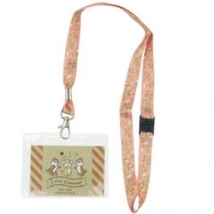 〔小禮堂〕迪士尼 奇奇蒂蒂  防水透明織帶掛繩證件套《棕橘.愛慕》證件夾.車票夾