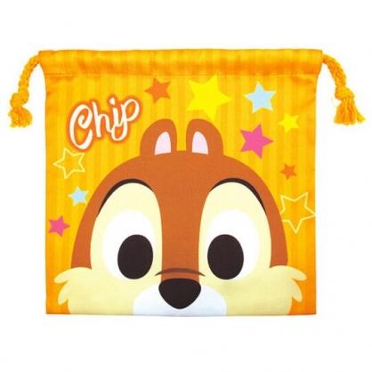 〔小禮堂〕迪士尼 奇奇蒂蒂 棉質束口袋《橘棕.大臉》20x20cm.縮口袋.收納袋