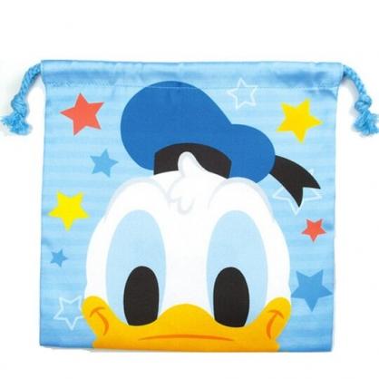 〔小禮堂〕迪士尼 唐老鴨 棉質束口袋《藍白.大臉》20x20cm.縮口袋.收納袋