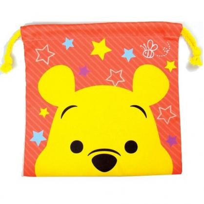 〔小禮堂〕迪士尼 小熊維尼 棉質束口袋《橘黃.大臉》20x20cm.縮口袋.收納袋