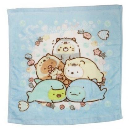 〔小禮堂〕角落生物 純棉割絨方形毛巾《藍白.海底變裝》34x35cm.方巾