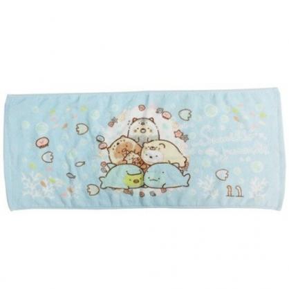 〔小禮堂〕角落生物 純棉割絨長毛巾《藍白.海底變裝》34x80cm.長巾