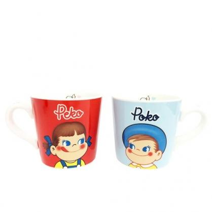 〔小禮堂〕不二家PEKO 陶瓷馬克杯組《紅藍.大臉》茶杯.咖啡杯.對杯