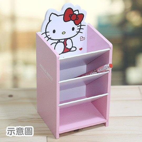〔小禮堂〕Hello Kitty 桌上型木製直式四層斜口收納盒《粉》置物盒.筆筒.刷具筒