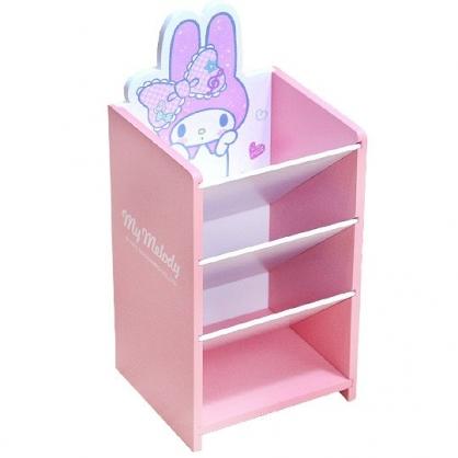 〔小禮堂〕美樂蒂 桌上型木製直式四層斜口收納盒《粉》置物盒.筆筒.刷具筒