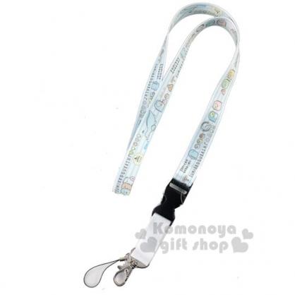 〔小禮堂〕角落生物 多功能頸繩《白.直紋》掛飾.頸掛繩.證件帶