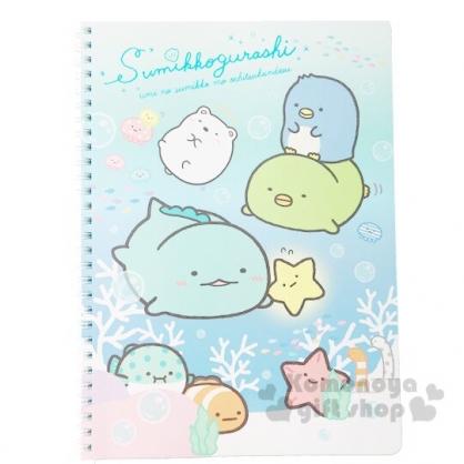 〔小禮堂〕角落生物 左翻線圈橫線筆記本《B5.藍綠.游泳》手札.日記本