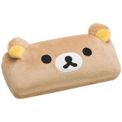 〔小禮堂〕懶懶熊 拉拉熊 造型耳朵絨毛硬殼眼鏡盒《棕》收納盒