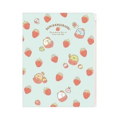 〔小禮堂〕角落生物 雙開式文件夾《A4.綠紅.草莓》資料夾.L夾.檔案夾