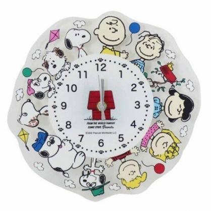 〔小禮堂〕史努比 造型透明壓克力壁掛鐘《白.圍繞》時鐘.造型鐘