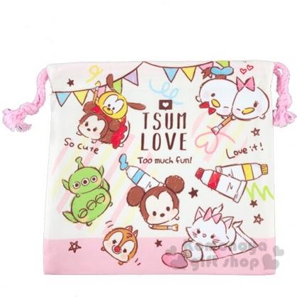 〔小禮堂〕迪士尼 TsumTsum 棉質束口袋《粉米.顏料》20x20cm.縮口袋.收納袋