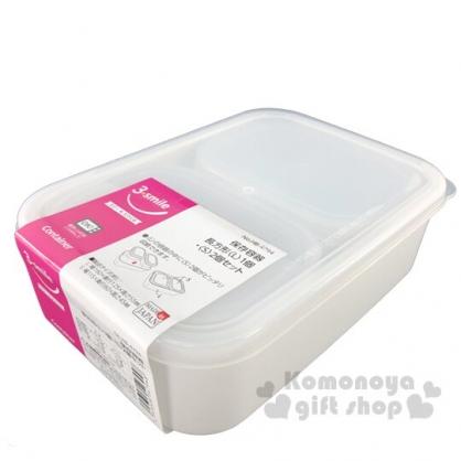 〔小禮堂〕日製方形透明蓋保鮮盒組《3入.白》便當盒.食物盒.餐盒