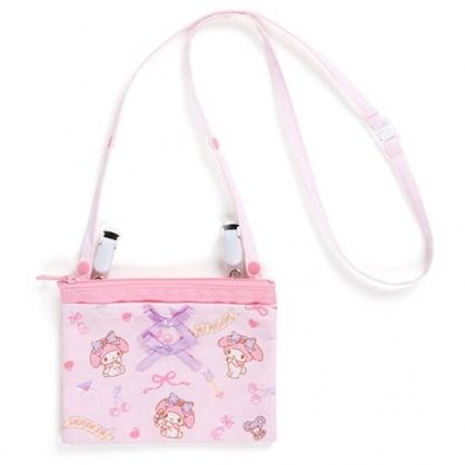 〔小禮堂〕美樂蒂 日製兒童緞帶帆布夾式口袋包《粉.櫻桃》腰包.斜背包.零錢包