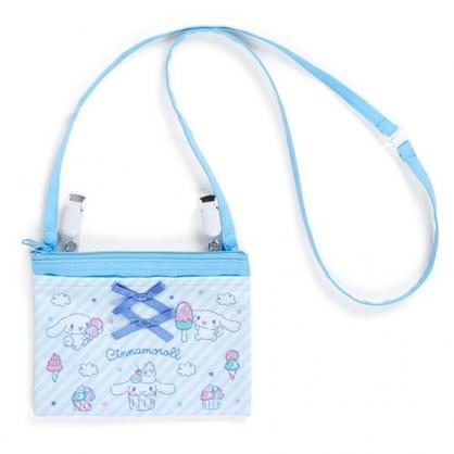 〔小禮堂〕大耳狗 日製兒童緞帶帆布夾式口袋包《藍.斜紋》腰包.斜背包.零錢包