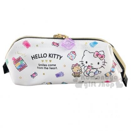 〔小禮堂〕Hello Kitty 硬式支架皮質拉鍊筆袋《白.糖果》化妝包.收納包.鉛筆盒