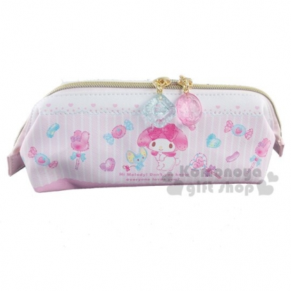 〔小禮堂〕美樂蒂 硬式支架皮質拉鍊筆袋《粉.雨傘》化妝包.收納包.鉛筆盒