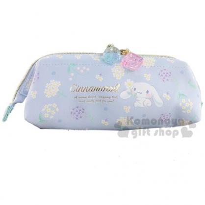 〔小禮堂〕大耳狗 硬式支架皮質拉鍊筆袋《藍.花朵》化妝包.收納包.鉛筆盒