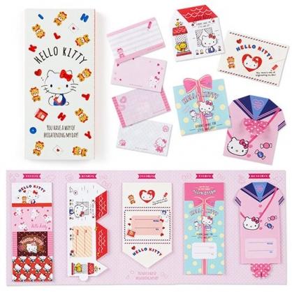 〔小禮堂〕Hello Kitty 日製方形多折信紙本《白.小熊》留言卡片.便條紙
