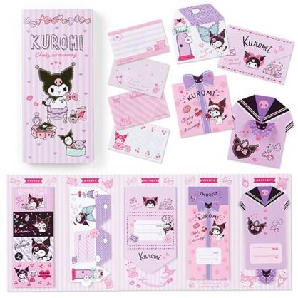 〔小禮堂〕酷洛米 日製方形多折信紙本《紫.化妝品》留言卡片.便條紙