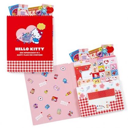 〔小禮堂〕Hello Kitty 日製豪華信紙組《紅.手推車》貼紙.便條紙.信封.卡片