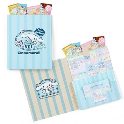 〔小禮堂〕大耳狗 日製豪華信紙組《藍.直紋》貼紙.便條紙.信封.卡片