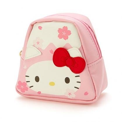 〔小禮堂﹞Hello Kitty 富士山造型皮質化妝包《粉白》收納包.萬用包.燦爛櫻花系列