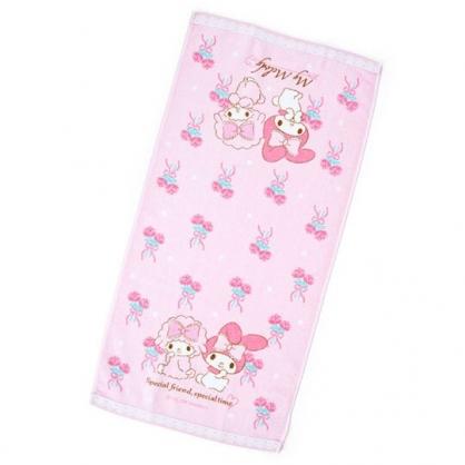 〔小禮堂〕美樂蒂 純棉割絨長毛巾《粉白.玫瑰》34x71cm.長巾