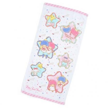 〔小禮堂〕雙子星 純棉割絨長毛巾《白粉.星星框》34x71cm.長巾