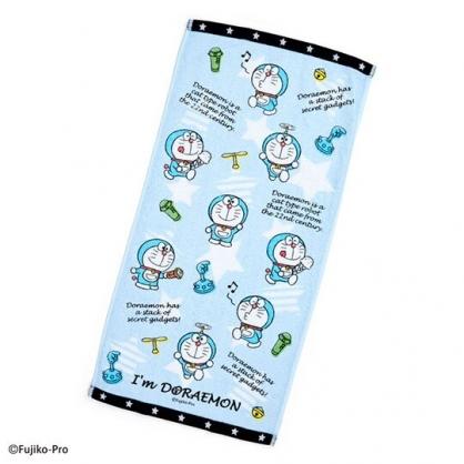 〔小禮堂〕哆啦A夢 純棉割絨長毛巾《藍白.文字》34x71cm.長巾