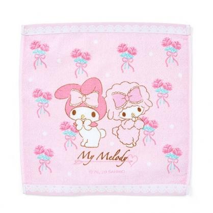 〔小禮堂〕美樂蒂 純棉割絨方形毛巾《粉白.玫瑰》34x35cm.方巾