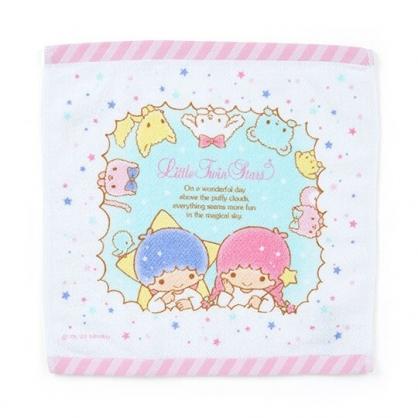 〔小禮堂〕雙子星 純棉割絨方形毛巾《白粉.雲朵框》34x35cm.方巾