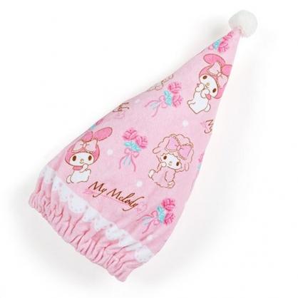 〔小禮堂〕美樂蒂 三角純棉割絨鬆緊浴帽《粉白.玫瑰》擦髮巾.護髮帽.吸水巾