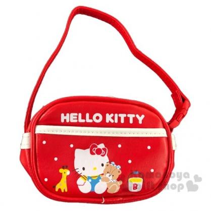 〔小禮堂〕Hello Kitty 迷你皮質拉鍊吊飾零錢包《紅》掛飾收納包.復古學園系列