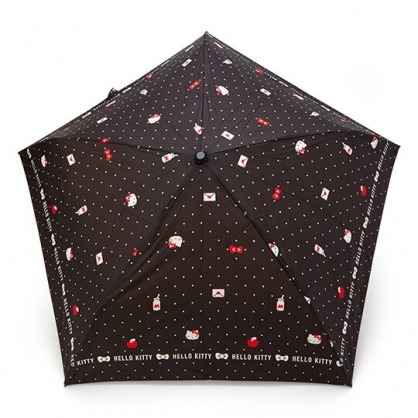〔小禮堂〕Hello Kitty 超輕量折疊雨傘《黑.點點紋》折傘.雨具