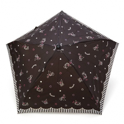 〔小禮堂〕酷洛米 超輕量折疊雨傘《黑.愛心紋》折傘.雨具