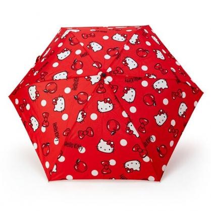 〔小禮堂〕Hello Kitty 頭型柄折疊雨傘《紅黑.蝴蝶結》折傘.雨具