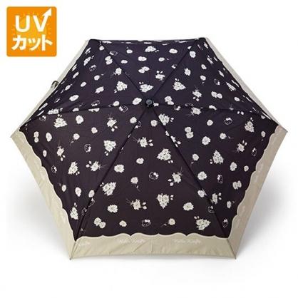 〔小禮堂〕Hello Kitty 抗UV折疊雨陽傘《黑灰.花朵》折傘.雨傘.雨具