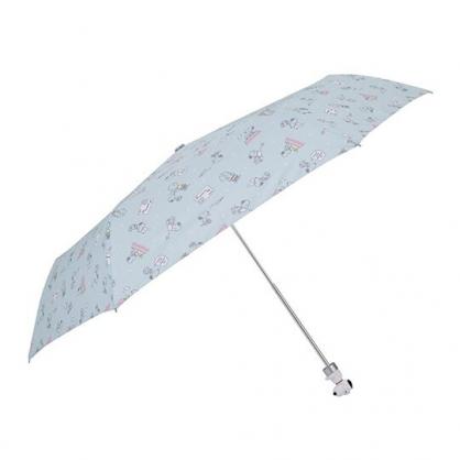 〔小禮堂〕史努比  抗UV造型柄折疊雨傘《淡綠.坐屋頂》折傘.雨具