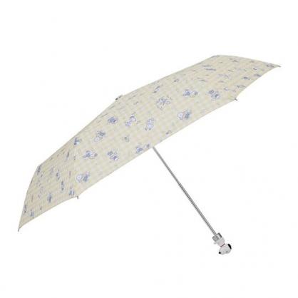 〔小禮堂〕史努比  抗UV造型柄折疊雨傘《黃白.格紋》折傘.雨具