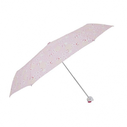 〔小禮堂〕Hello Kitty  抗UV頭型柄折疊雨傘《粉黃.櫻花》折傘.雨具