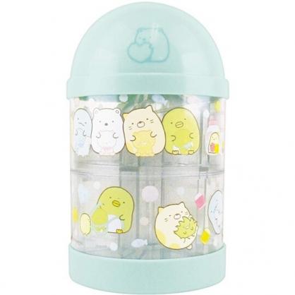 〔小禮堂〕角落生物 透明圓柱型塑膠存錢筒《綠黃.玩偶》擺飾.撲滿.儲金筒