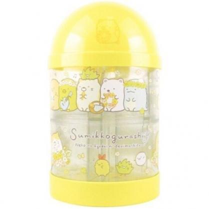〔小禮堂〕角落生物 透明圓柱型塑膠存錢筒《米黃.花朵》擺飾.撲滿.儲金筒