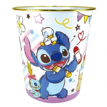 〔小禮堂〕迪士尼 史迪奇 圓形無蓋垃圾桶《藍紫.拿蠟筆》書報桶.收納桶.置物桶