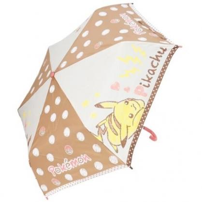 〔小禮堂〕神奇寶貝Pokemon皮卡丘  彎把防風傘骨折疊雨傘《粉棕.點點》折傘.雨具