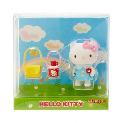 〔小禮堂〕Hello Kitty 迷你植絨玩偶娃娃《藍白》掌上公仔.擺飾.復古學園系列